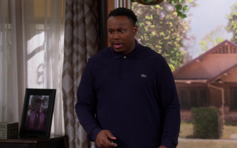 Lacoste Blue Long Sleeve Shirt of Marcel Spears as Marty in The Neighborhood S03E03 TV Show (1)