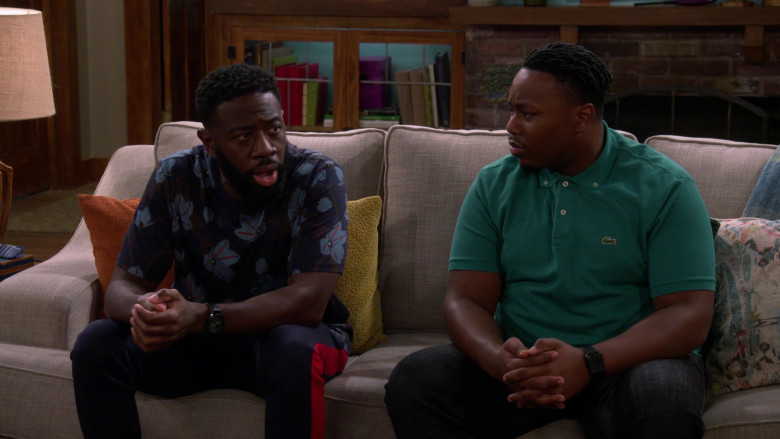 Lacoste Men's Green Polo Shirt Outfit of Marcel Spears as Marty in The Neighborhood S03E03 TV Show