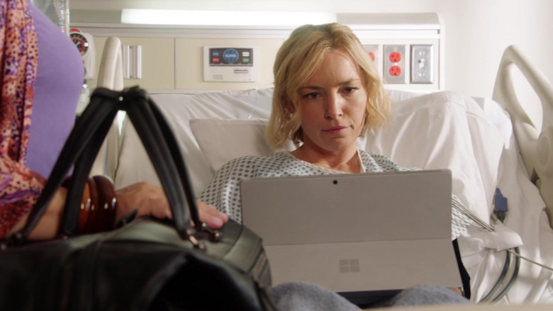 Microsoft Surface Tablet of Perdita Weeks as Juliet Higgins in Magnum P.I. S03E01 Double Jeopardy