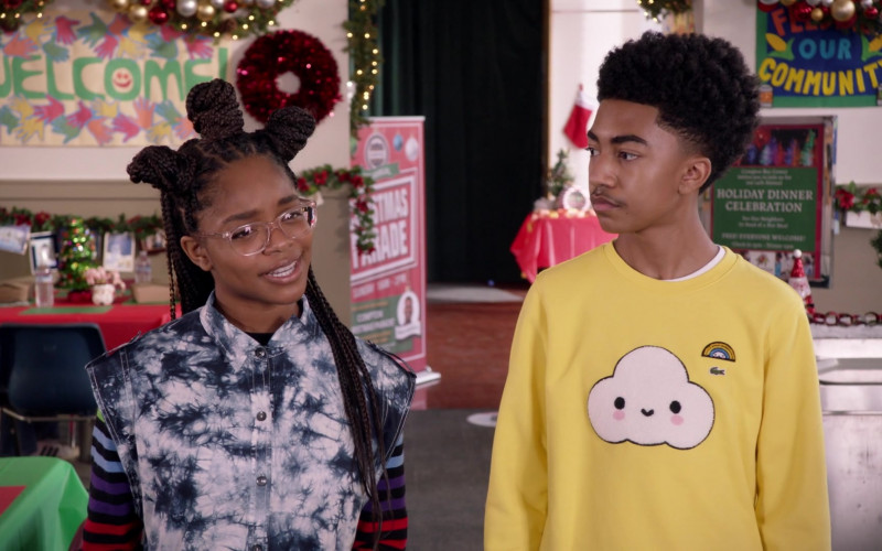 Miles Brown Wears Lacoste Boys' Crocoseries Friends with You Cloud Crewneck Sweatshirt (Lemon) Outfit in Black-ish (2)