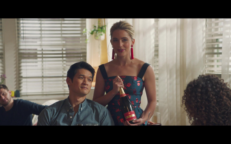 Piper-Heidsieck Champagne Bottle Held by Jessica Rothe as Jennifer Carter in All My Life
