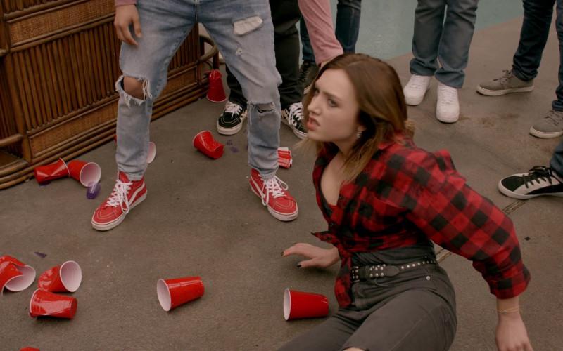 Vans Red HiTop Sneakers of Xolo Maridueña as Miguel Diaz in Cobra Kai S02E09 (1)
