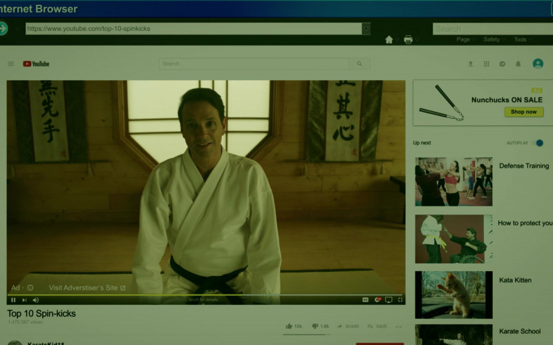 Youtube Website in Cobra Kai S02E03 Fire and Ice (2019)