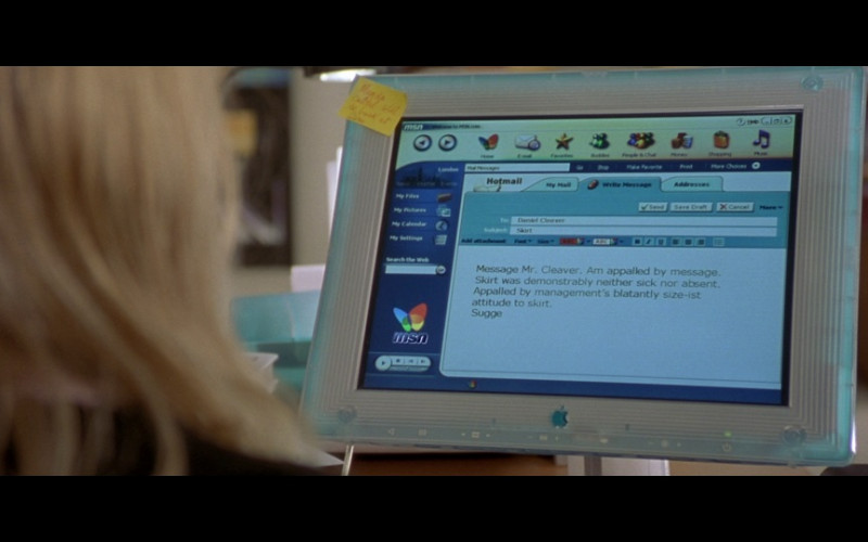 Apple Computer Monitor and MSN Hotmail Email in Bridget Jones's Diary (2001)