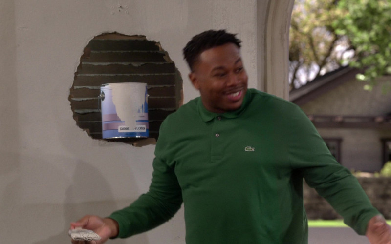 Lacoste Men's Green Long Sleeve Shirt of Marcel Spears as Marty in The Neighborhood S03E08 (1)