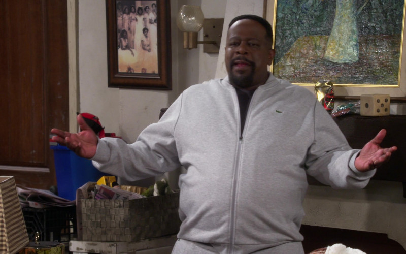 Lacoste Men's Grey Jacket of Actor Cedric the Entertainer as Calvin in The Neighborhood S03E08 (1)