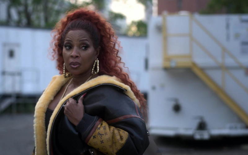 Louis Vuitton Tattoo Monogram Reversible Aviator Jacket of Mary J. Blige as Monet in Power Book II (5)