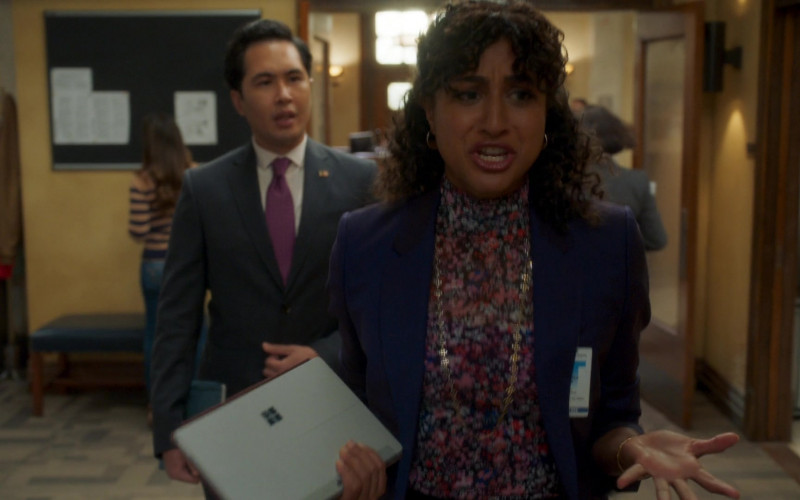 Microsoft Surface Tablet of Vella Lovell as Mikaela Shaw in Mr. Mayor S01E01 (2)