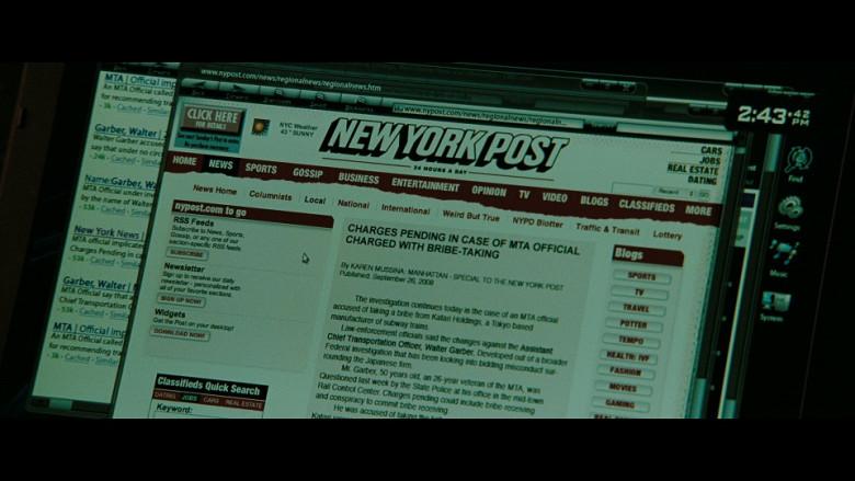New York Post Website in The Taking of Pelham 123 (2009)