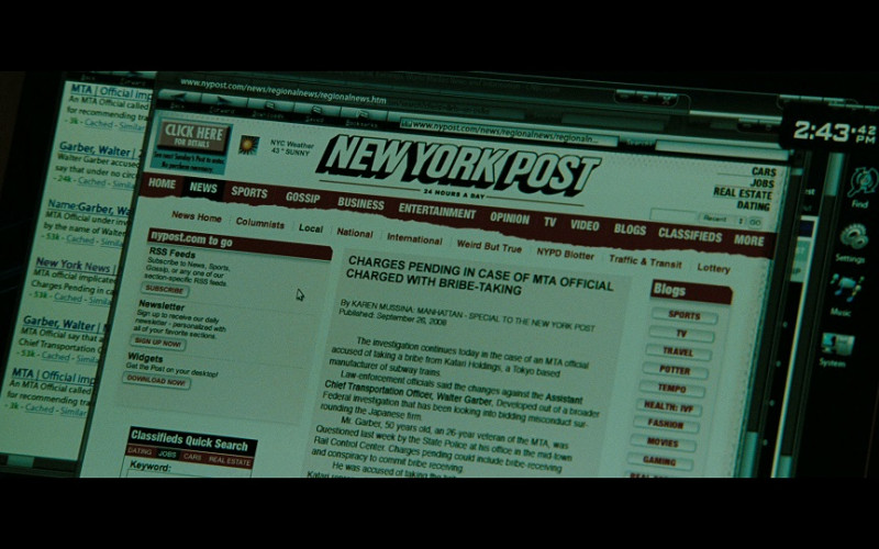 New York Post Website in The Taking of Pelham 123 (2009)
