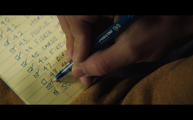PILOT Precise V5 Stick Liquid Ink Rolling Ball Stick Pen of Keean Johnson in The Ultimate Playlist of Noise (2021) Movie,