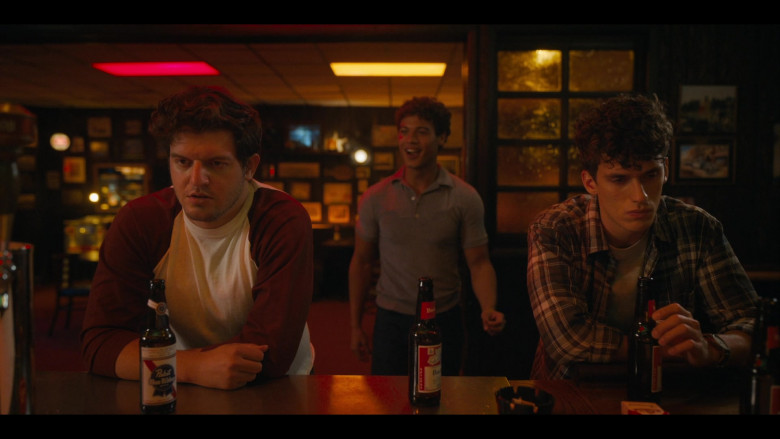 Pabst Blue Ribbon Beer Enjoyed by Brian Muller as Pags and Budweiser Bottles in Bridge and Tunnel S01E01 The Graduates (2021)