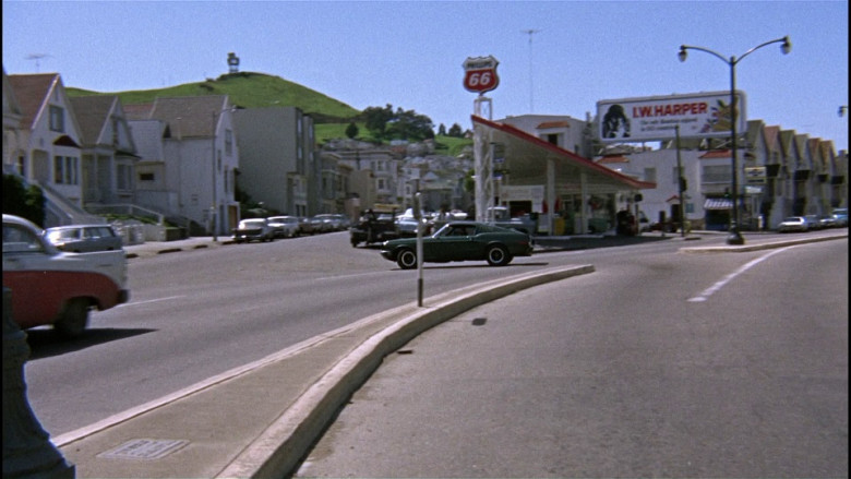 Phillips 66 sign & I.W. Harper whisky billboard in Bullitt (1968)