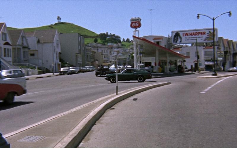 Phillips 66 sign & I.W. Harper whisky billboard in Bullitt (1968)