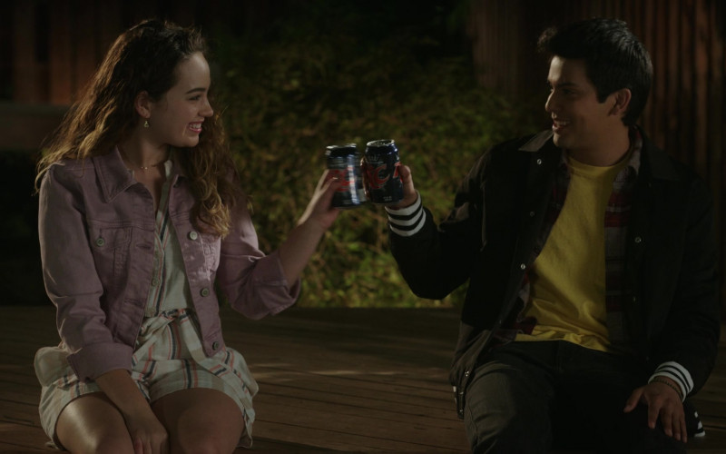 RC Cola Drinks Enjoyed by Mary Mouser as Samantha LaRusso & Xolo Maridueña as Miguel Diaz in Cobra Kai S03E08