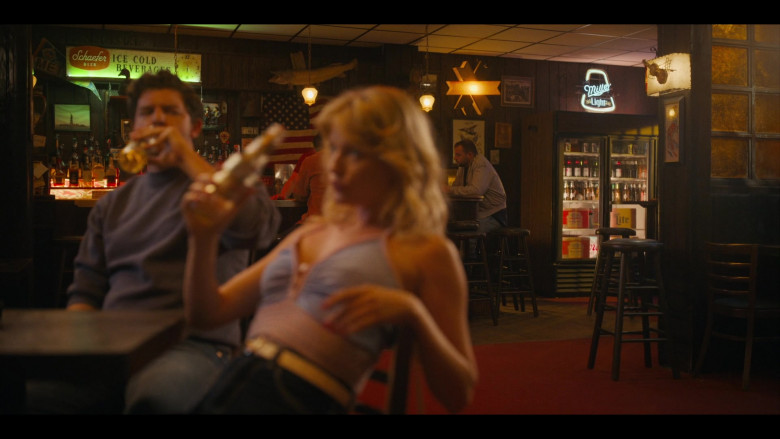 Schaefer Beer and Miller Lite Signs in the Bar in Bridge and Tunnel S01E01 The Graduates (2021)