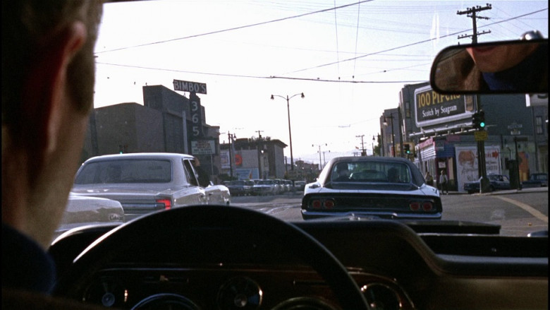 Seagram's 100 Pipers whisky billboard in Bullitt (1968)