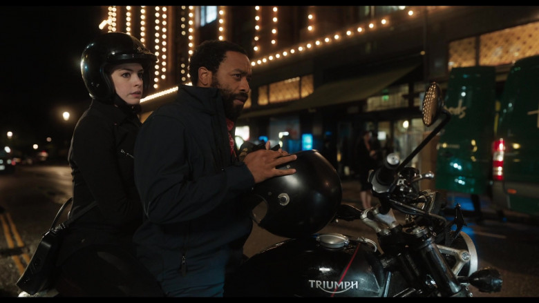 Triumph Motorcycle of Anne Hathaway as Linda Thurman & Chiwetel Ejiofor as Paxton Riggs in Locked Down (2021)