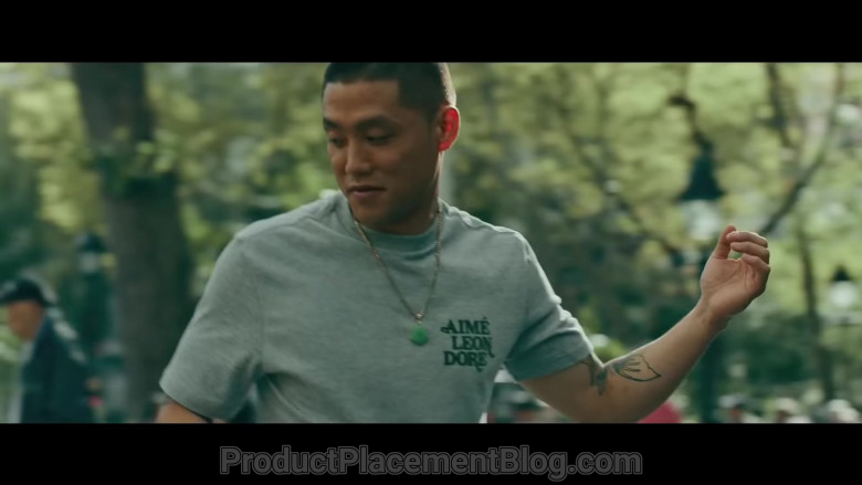 Aimé Leon Dore T-Shirt of Taylor Takahashi as Alfred 'Boogie' Chin in Boogie (2021)