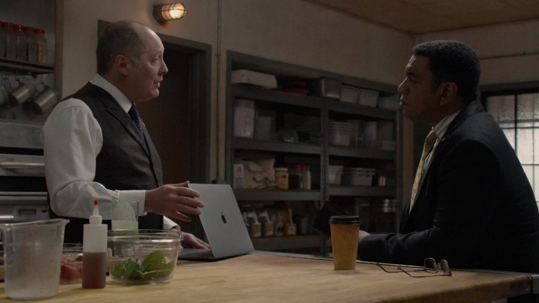 Apple MacBook Pro Laptop of James Spader as Raymond 'Red' Reddington in The Blacklist S08E08 Ogden Greeley (No. 40) (2021)