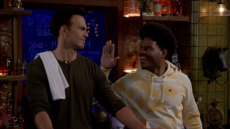 Champion Men's Hoodie of Julian Gant as Carter in Call Me Kat S01E09 (2)