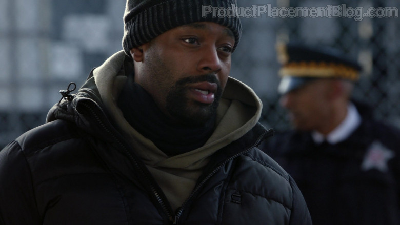 G-Star RAW Winter Hooded Quilted Jacket of LaRoyce Hawkins as Kevin Atwater in Chicago P.D. S08E07 Instinct (2021)