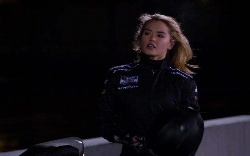 Impact, Nascar Cup Series and Goodyear Logos on the Racing Suit of Paris Berelc as Jessie De La Cruz (1)