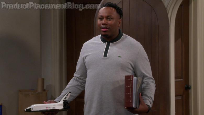 Lacoste Men's Grey Long Sleeve Shirt of Marcel Spears as Marty in The Neighborhood S03E09 Welcome to the Shakedown (2021)