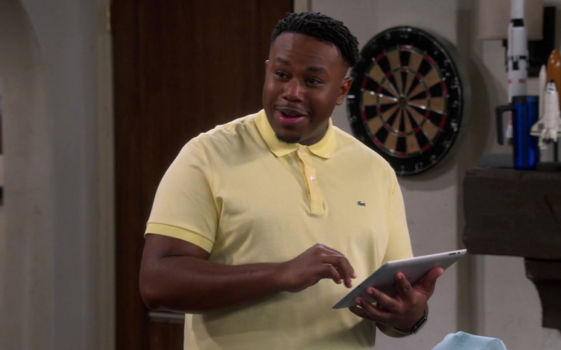 Lacoste Men's Yellow Polo Shirt of Marcel Spears as Marty Butler in The Neighborhood S03E10