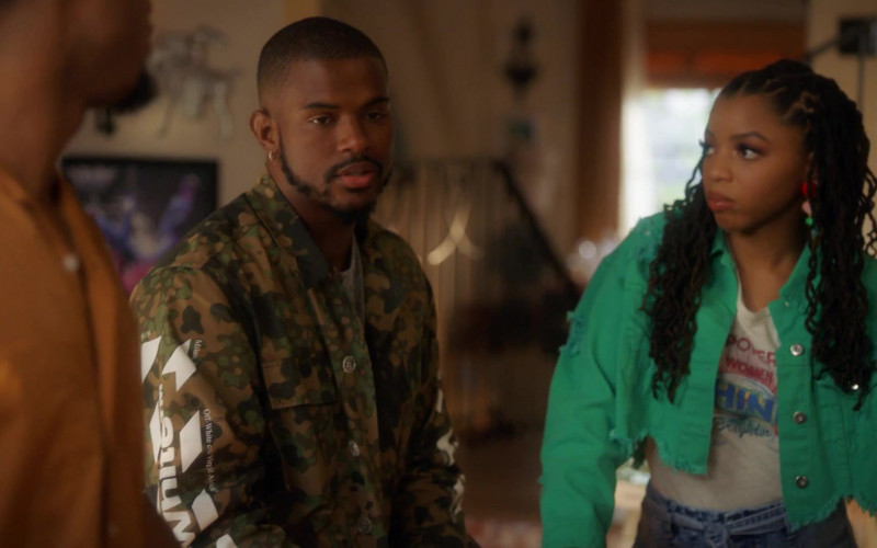 Off-White Men's Camo Jacket in Grown-ish S03E14 (3)