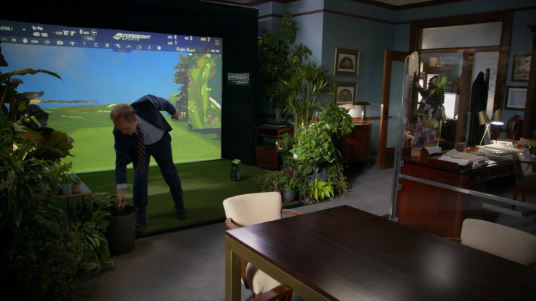 Peter MacNicol as Judge Albert Campbell Playing Foresight Sports Sim in a Box Indoor Virtual Golf Simulator in All Rise S02E09 TV Show (1)