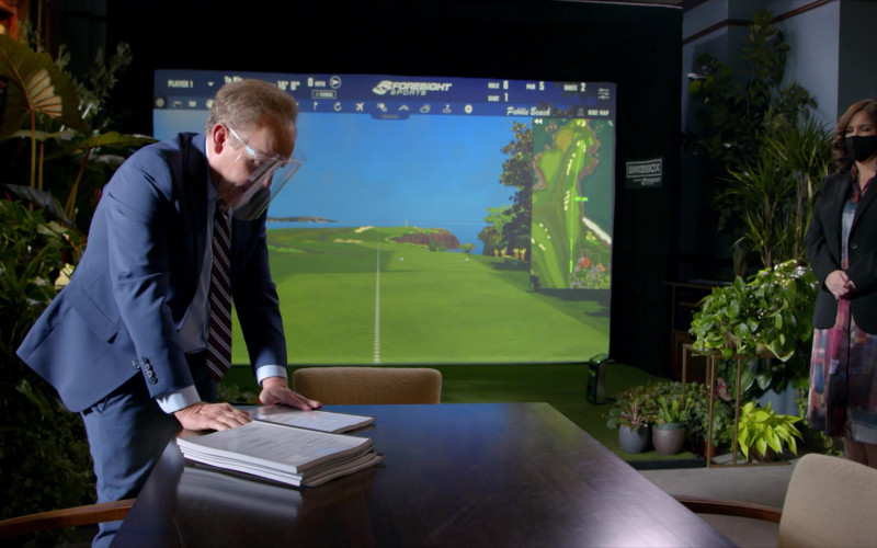 Peter MacNicol as Judge Albert Campbell Playing Foresight Sports Sim in a Box Indoor Virtual Golf Simulator in All Rise S02E09 TV Show (3)