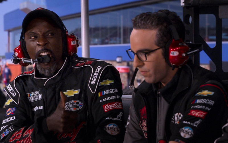 Racing Electronics, Sparco, Chevrolet, Sunoco, Goodyear, Geico, Gander RV., Coca-Cola, Mack, Busch, Mobil 1 in The Crew S01E02