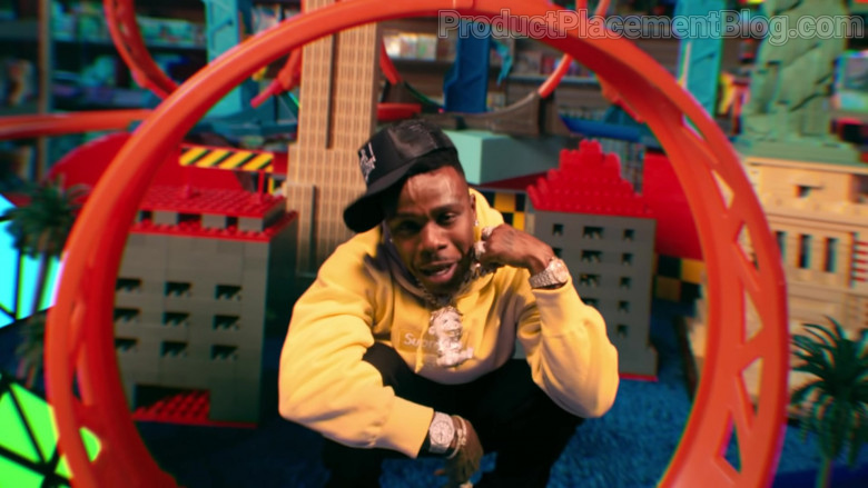"""Supreme Men's Yellow Hoodie of DaBaby in """"Cry Baby"""" by Megan Thee Stallion (2021)"""