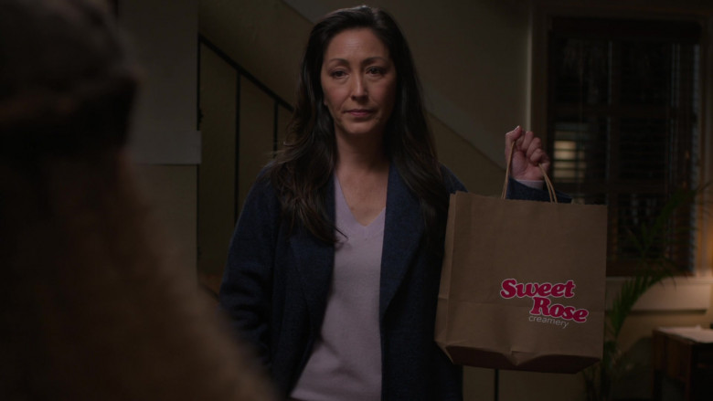 Sweet Rose Creamery Ice Cream Shop Paper Bag Held by Christina Chang as Dr. Audrey Lim in The Good Doctor S04E10 TV Show