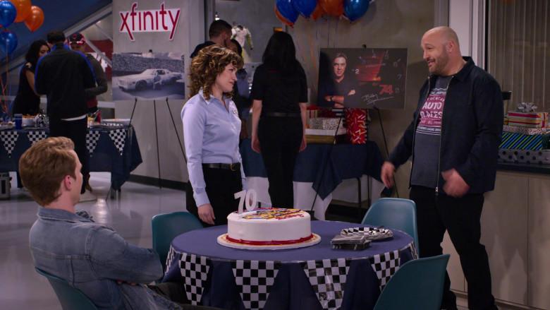 Xfinity Telephone service company logo on the wall in The Crew S01E01