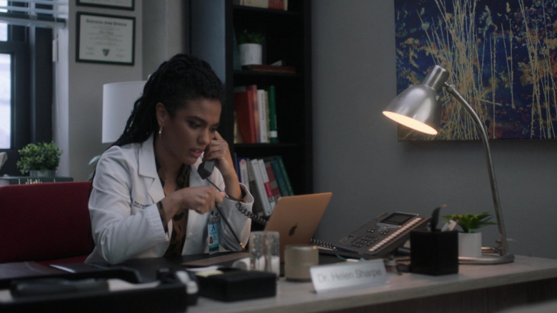 Apple MacBook Laptop of Cast Member Freema Agyeman as Dr. Helen Sharpe in New Amsterdam S03E04 This Is All I Need (2021)
