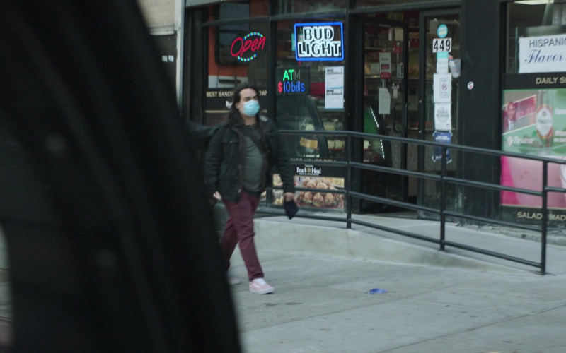 Bud Light Beer Neon Sign in New Amsterdam S03E02 Essential Workers (2021)