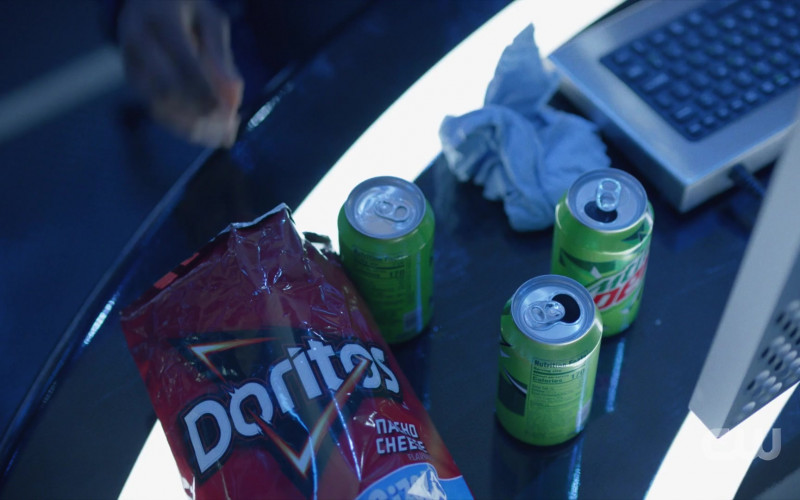 Doritos Nacho Cheese Chips and Mtn Dew Drink Cans in Black Lightning S04E04 TV Show