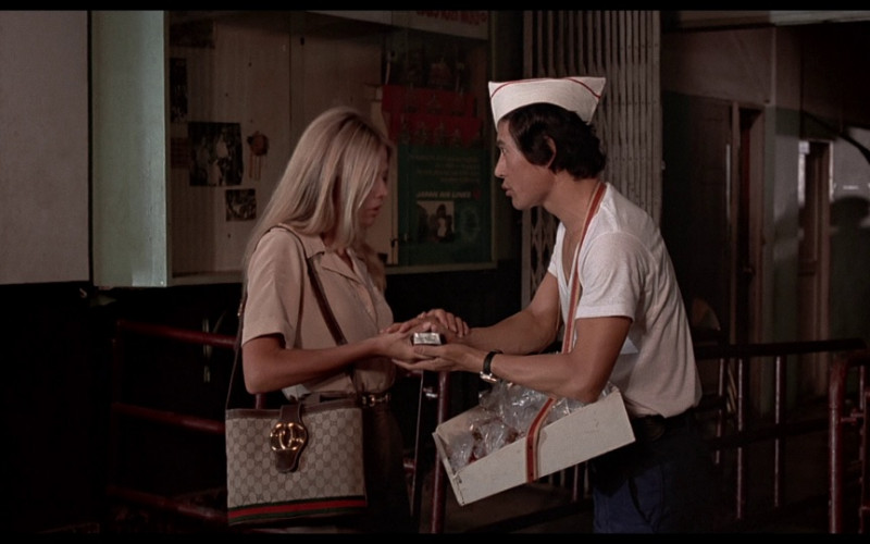 Gucci handbag of Britt Ekland as Mary Goodnight in The Man with the Golden Gun (1974)