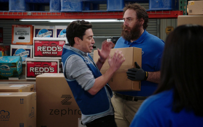 Henry's Hard Soda, Blue Moon Beer, Redd's Apple Ale Boxes in Superstore S06E12 Customer Satisfaction (2021)