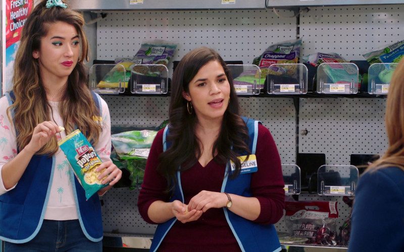 Herr's Popcorn Enjoyed by Nichole Sakura as Cheyenne Thompson (née Lee) in Superstore S06E15 TV Show (2)