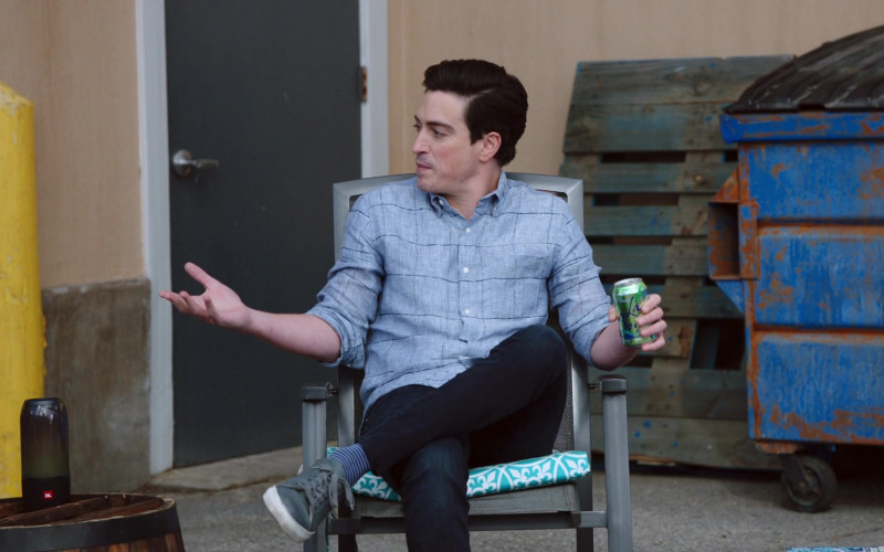 JBL Portable Speaker and Lacroix Drink Enjoyed by Ben Feldman as Jonah Simms in Superstore S06E12 Customer Satisfaction (2021)