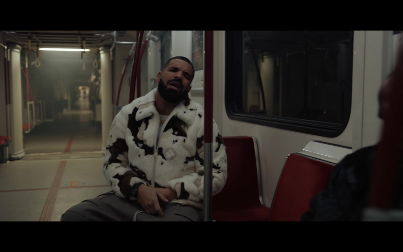 Louis Vuitton Monogram Fur Jacket of Drake in 'What's Next' by Drake (2021)