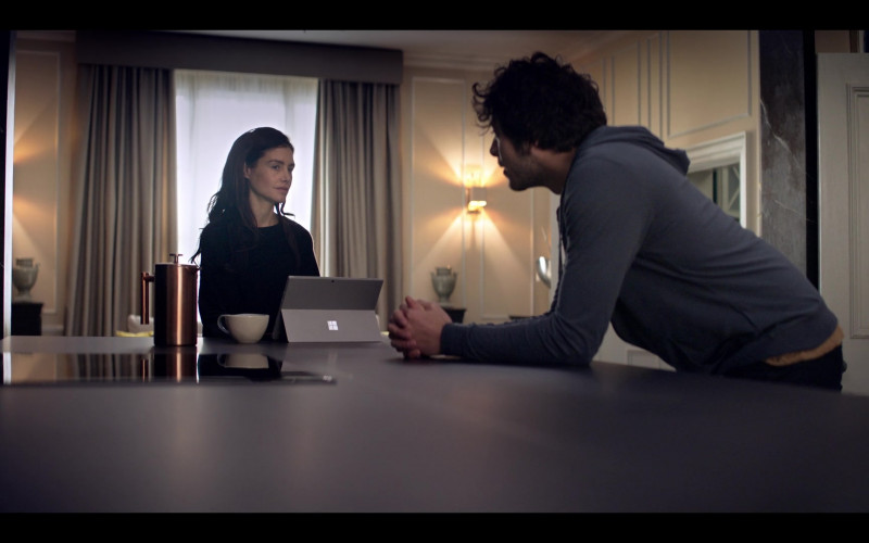 Microsoft Surface Tablet of Hannah Ware as Rebecca Webb in The One S01E08 TV Show by Netflix (2)