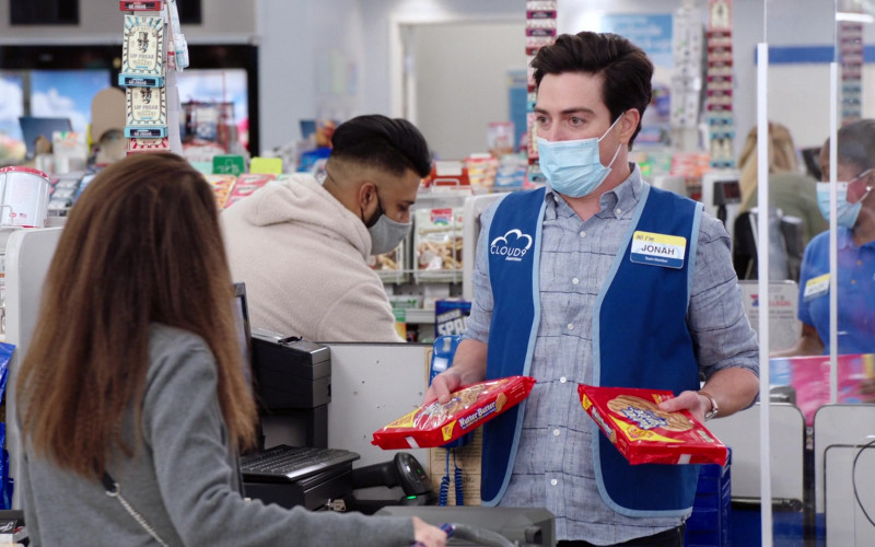 Nabisco Nutter Butter Cookies Held by Ben Feldman as Jonah Simms in Superstore S06E12 Customer Satisfaction (2021)