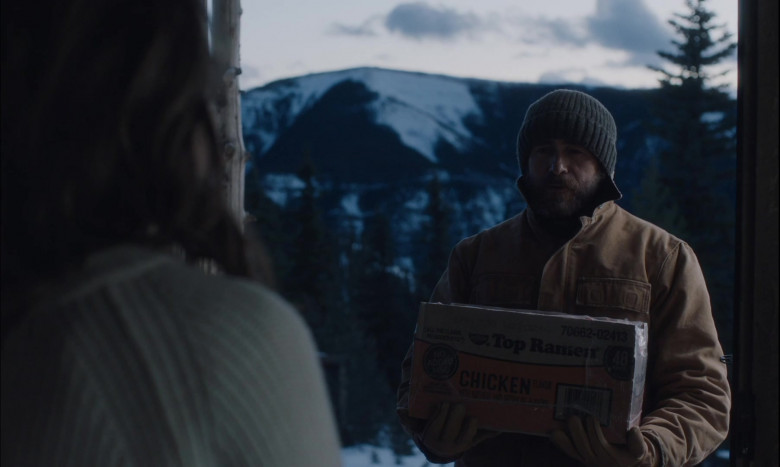 Nissin Top Ramen Chicken Noodle Box Held by Demián Bichir as Miguel in Land (2021)