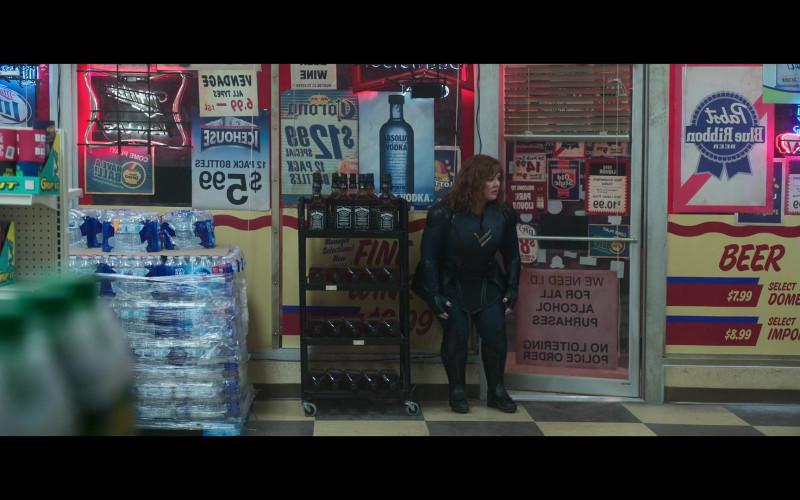 Absolut Vodka Poster and Jack Daniel's Whiskey Bottles in Thunder Force (2021)