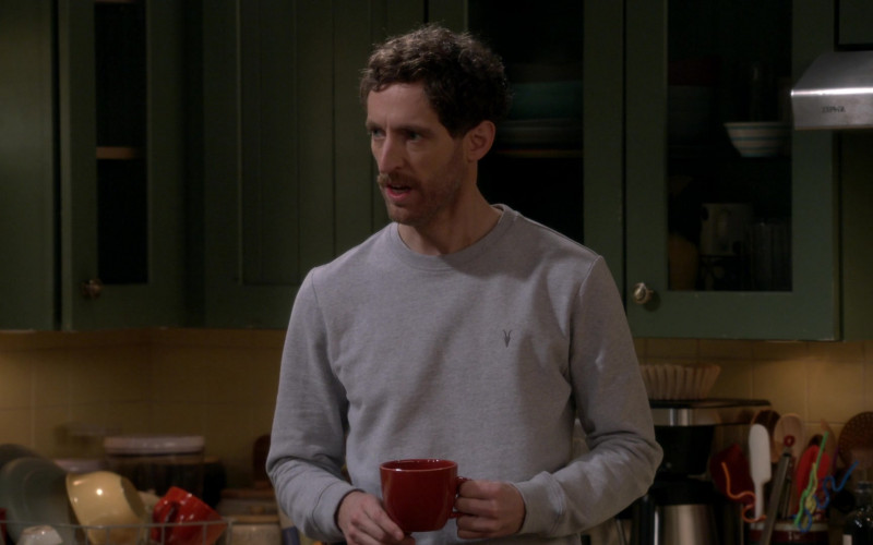 AllSaints Grey Sweatshirt of Thomas Middleditch as Drew in B Positive S01E14 Love Life Support (2021)