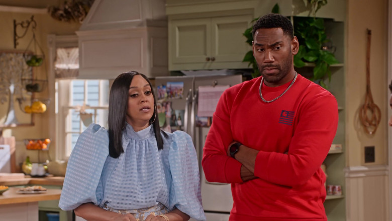 Carhartt Red Sweatshirt of Anthony Alabi as Moz McKellan in Family Reunion S03E06